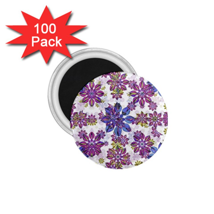 Stylized Floral Ornate Pattern 1.75  Magnets (100 pack)