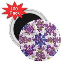 Stylized Floral Ornate Pattern 2 25  Magnets (100 Pack)