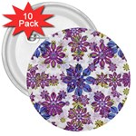 Stylized Floral Ornate Pattern 3  Buttons (10 pack)  Front