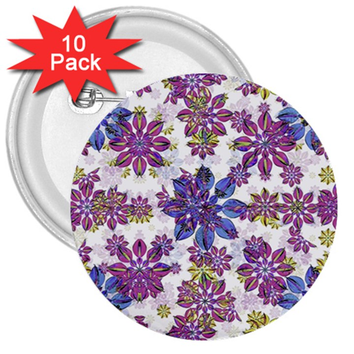 Stylized Floral Ornate Pattern 3  Buttons (10 pack)
