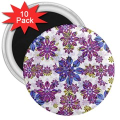 Stylized Floral Ornate Pattern 3  Magnets (10 pack)