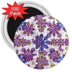 Stylized Floral Ornate Pattern 3  Magnets (100 Pack)