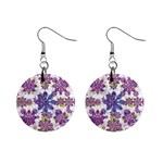 Stylized Floral Ornate Pattern Mini Button Earrings Front
