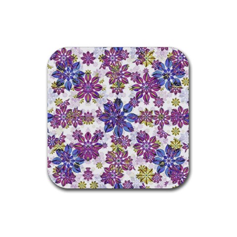 Stylized Floral Ornate Pattern Rubber Square Coaster (4 pack)