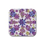 Stylized Floral Ornate Pattern Rubber Square Coaster (4 pack)  Front