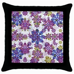 Stylized Floral Ornate Pattern Throw Pillow Case (black)