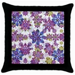 Stylized Floral Ornate Pattern Throw Pillow Case (Black) Front