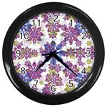 Stylized Floral Ornate Pattern Wall Clocks (Black) Front