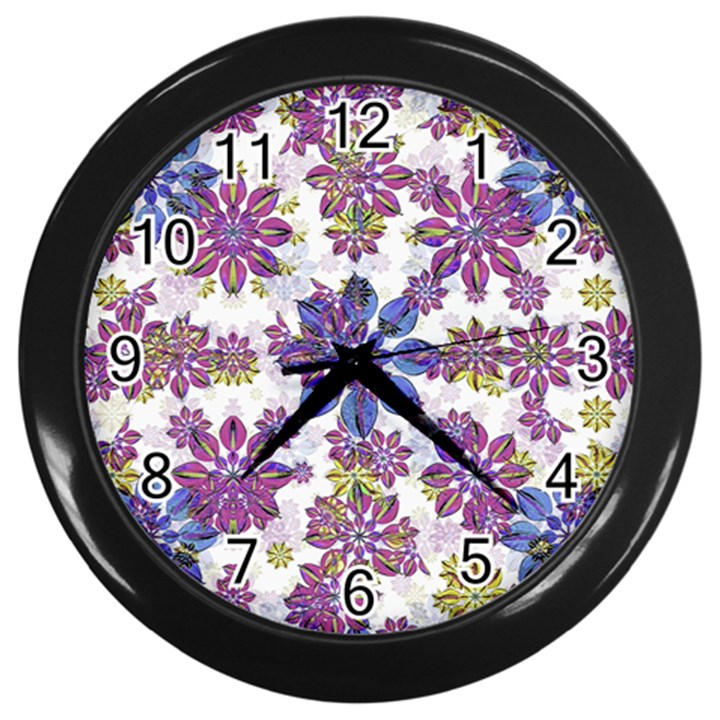 Stylized Floral Ornate Pattern Wall Clocks (Black)