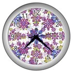 Stylized Floral Ornate Pattern Wall Clocks (Silver)  Front