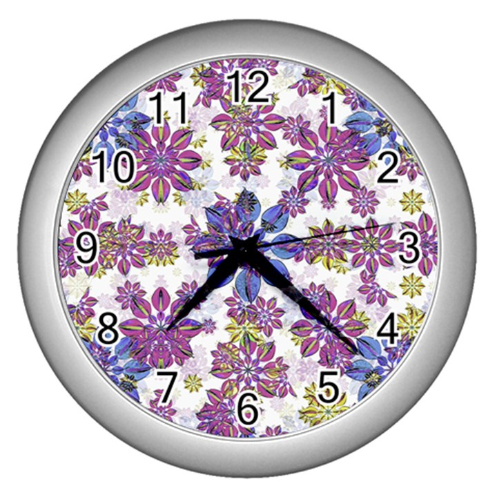 Stylized Floral Ornate Pattern Wall Clocks (Silver)