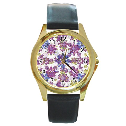 Stylized Floral Ornate Pattern Round Gold Metal Watch