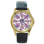 Stylized Floral Ornate Pattern Round Gold Metal Watch Front
