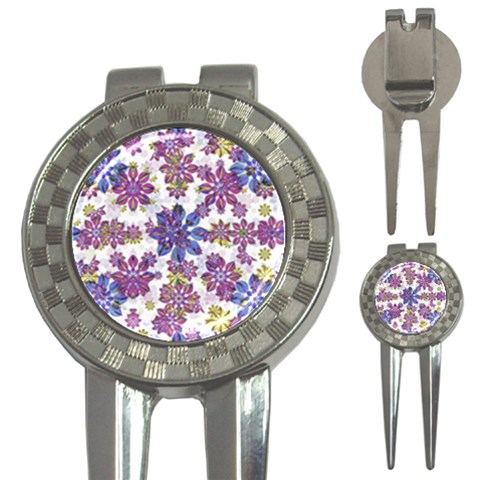 Stylized Floral Ornate Pattern 3-in-1 Golf Divots