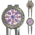 Stylized Floral Ornate Pattern 3-in-1 Golf Divots Front