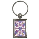 Stylized Floral Ornate Pattern Key Chains (Rectangle)  Front