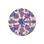 Stylized Floral Ornate Pattern Rubber Round Coaster (4 pack)  Front