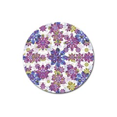 Stylized Floral Ornate Pattern Magnet 3  (Round)