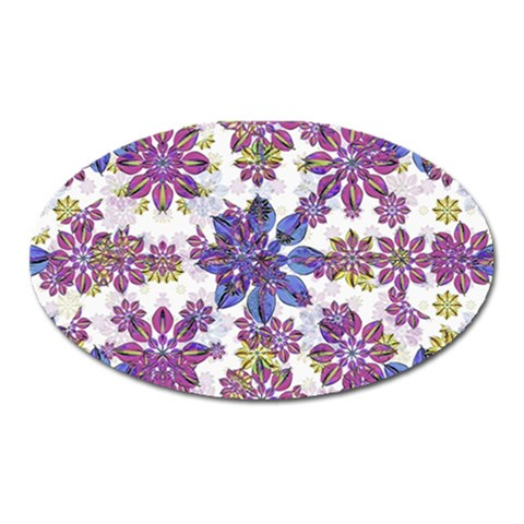Stylized Floral Ornate Pattern Oval Magnet