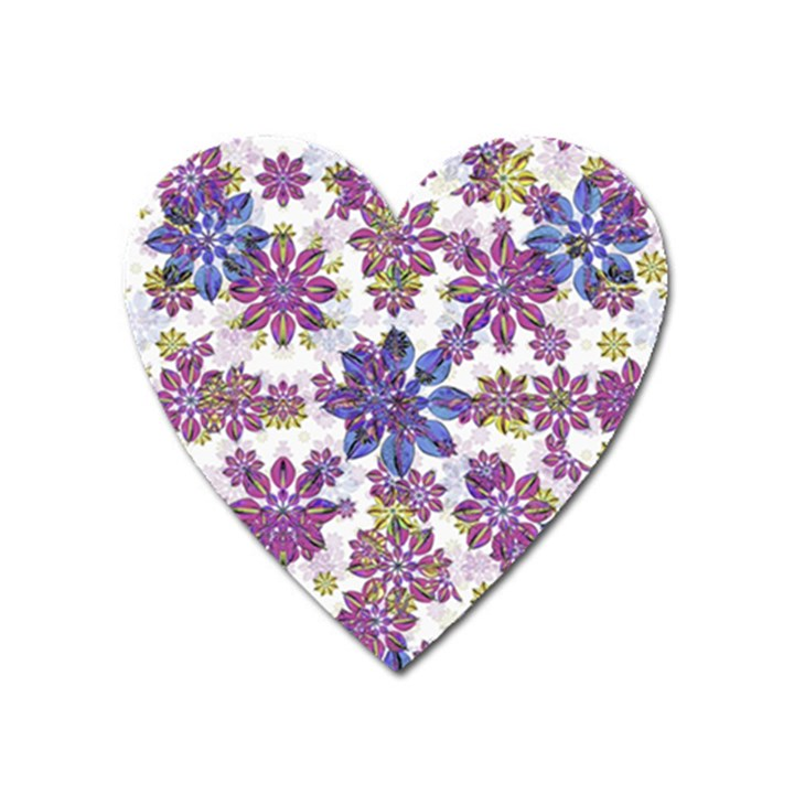Stylized Floral Ornate Pattern Heart Magnet