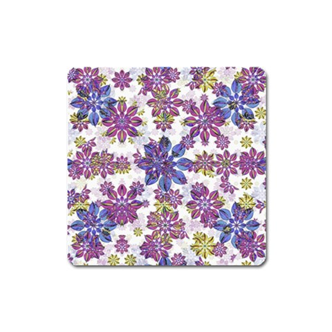 Stylized Floral Ornate Pattern Square Magnet