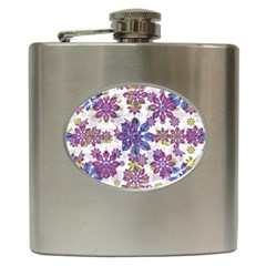 Stylized Floral Ornate Pattern Hip Flask (6 Oz)