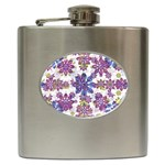 Stylized Floral Ornate Pattern Hip Flask (6 oz) Front