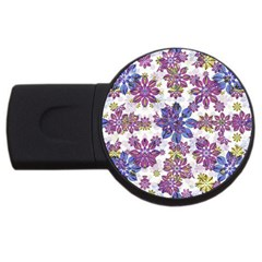 Stylized Floral Ornate Pattern Usb Flash Drive Round (2 Gb)