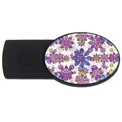 Stylized Floral Ornate Pattern USB Flash Drive Oval (1 GB)