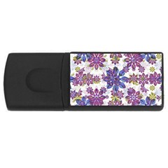 Stylized Floral Ornate Pattern USB Flash Drive Rectangular (2 GB)
