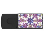 Stylized Floral Ornate Pattern USB Flash Drive Rectangular (1 GB)  Front