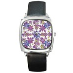 Stylized Floral Ornate Pattern Square Metal Watch Front