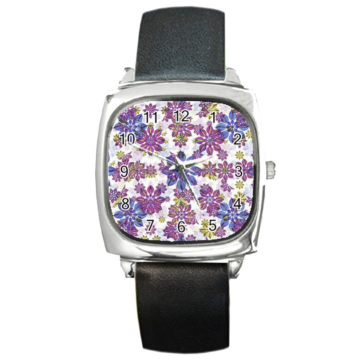 Stylized Floral Ornate Pattern Square Metal Watch