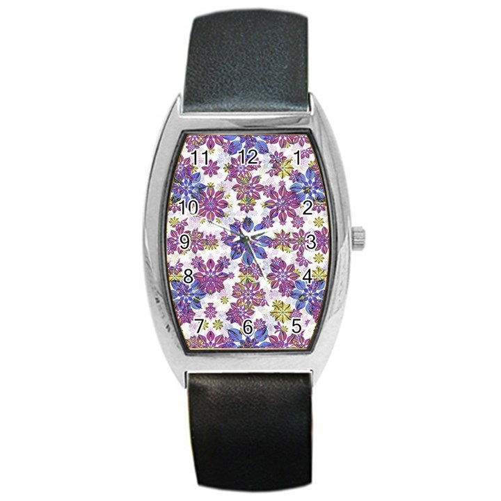 Stylized Floral Ornate Pattern Barrel Style Metal Watch