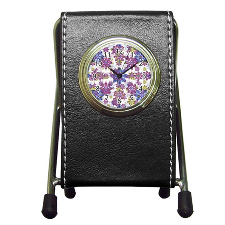 Stylized Floral Ornate Pattern Pen Holder Desk Clocks