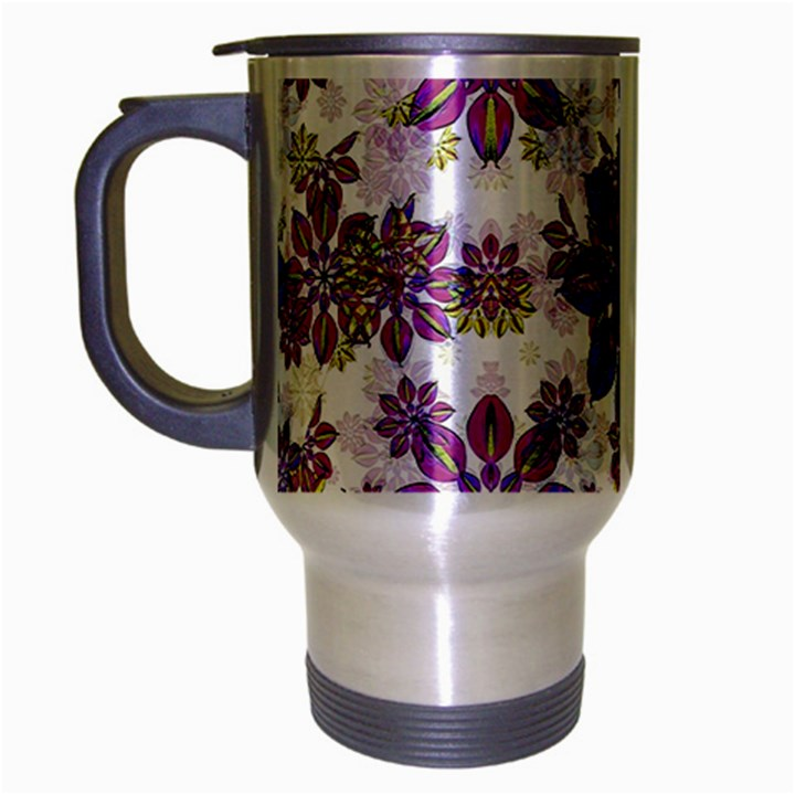 Stylized Floral Ornate Pattern Travel Mug (Silver Gray)