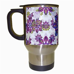 Stylized Floral Ornate Pattern Travel Mugs (White)