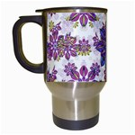 Stylized Floral Ornate Pattern Travel Mugs (White) Left