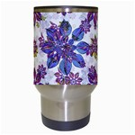 Stylized Floral Ornate Pattern Travel Mugs (White) Center