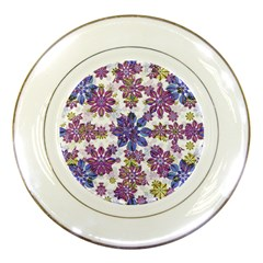 Stylized Floral Ornate Pattern Porcelain Plates