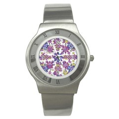 Stylized Floral Ornate Pattern Stainless Steel Watch