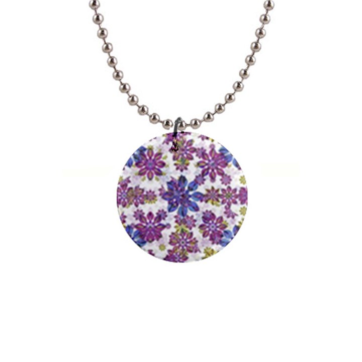 Stylized Floral Ornate Pattern Button Necklaces