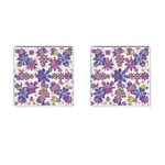 Stylized Floral Ornate Pattern Cufflinks (Square) Front