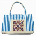 Stylized Floral Ornate Pattern Striped Blue Tote Bag Front