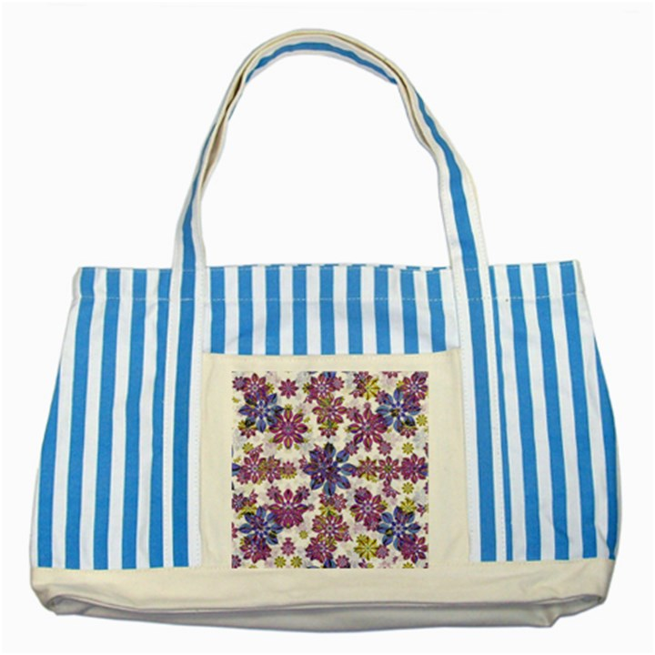 Stylized Floral Ornate Pattern Striped Blue Tote Bag
