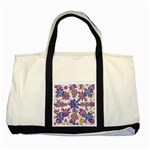 Stylized Floral Ornate Pattern Two Tone Tote Bag Front