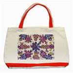 Stylized Floral Ornate Pattern Classic Tote Bag (Red) Front