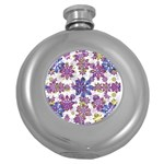 Stylized Floral Ornate Pattern Round Hip Flask (5 oz) Front