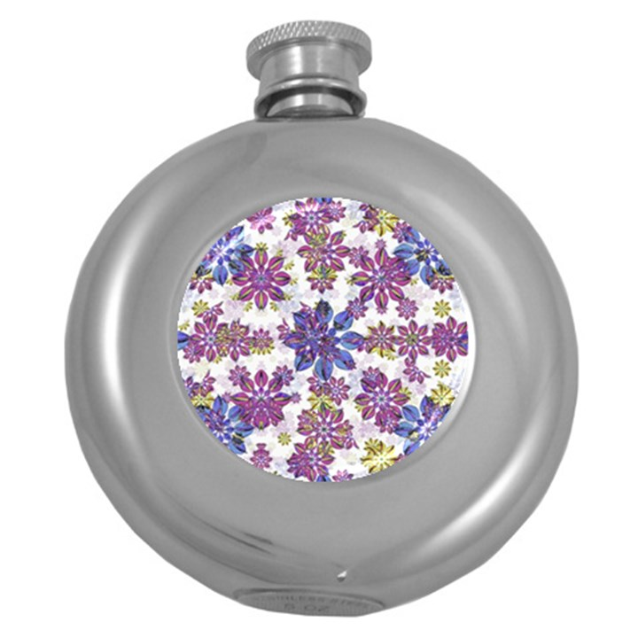 Stylized Floral Ornate Pattern Round Hip Flask (5 oz)