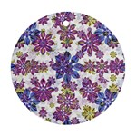 Stylized Floral Ornate Pattern Round Ornament (Two Sides)  Back